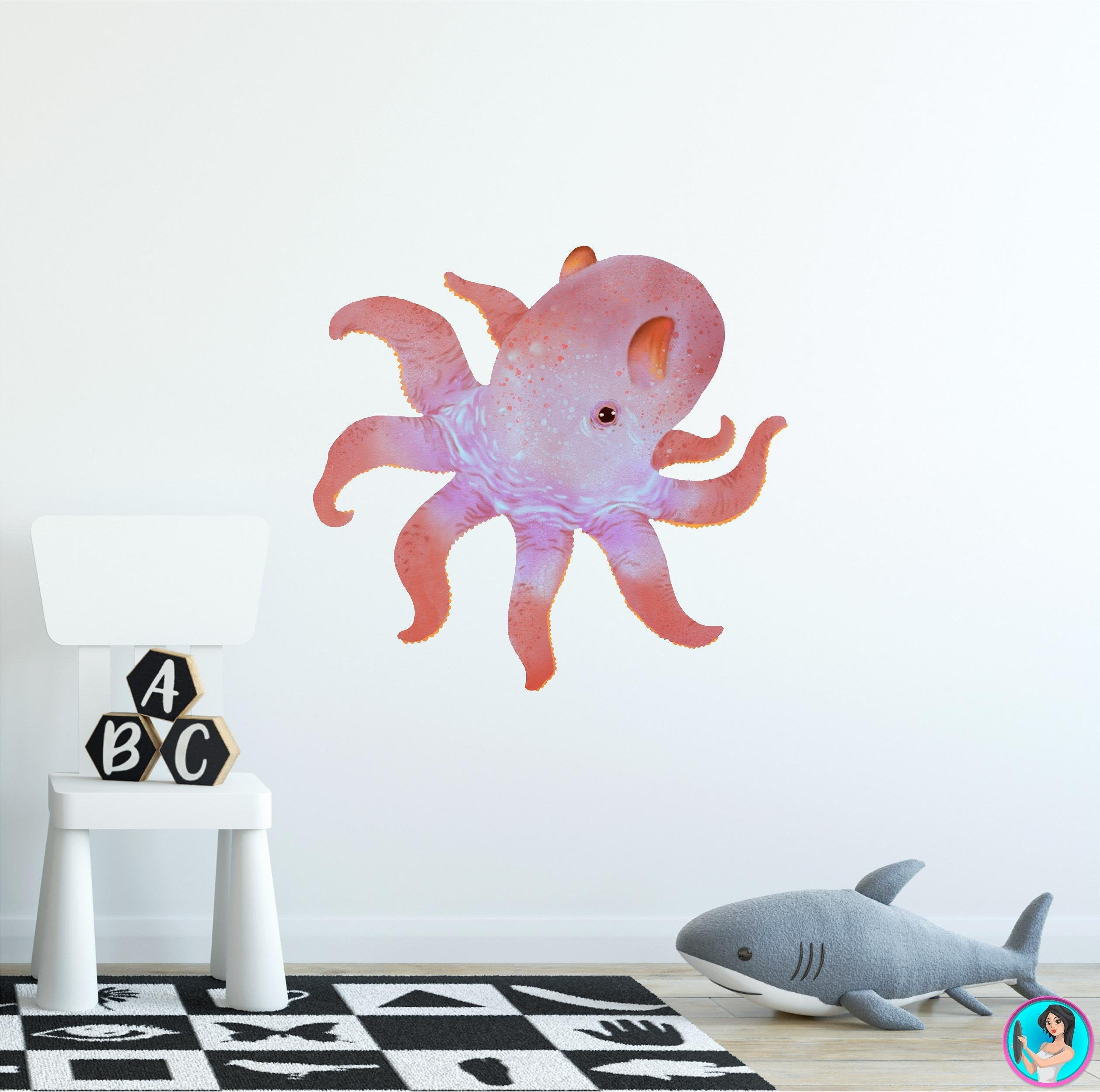 Dumbo Octopus Wall Decal Removable Fabric Vinyl Cute Sea Animal Wall Sticker