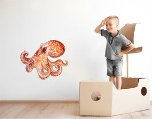 Watercolor Octopus #2 Wall Decal Deep Sea Animal Removable Fabric Vinyl Wall Sticker