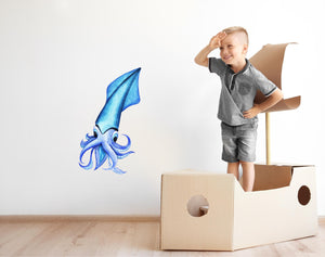 Watercolor Blue Squid Wall Decal Removable Sea Animal Fabric Vinyl Wall Sticker