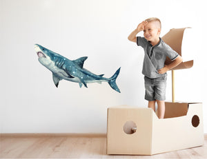Watercolor Galaxy Shark Wall Decal Removable Sea Animal Fabric Vinyl Wall Sticker