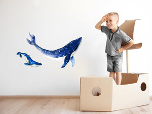 Watercolor Galaxy Whales Mother & Baby Wall Decal Set Removable Fabric Vinyl Wall Stickers