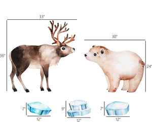 Arctic Animals Wall Decal Set #1 Watercolor Reindeer Polar Bear Iceberg Removable Fabric Vinyl Wall Stickers