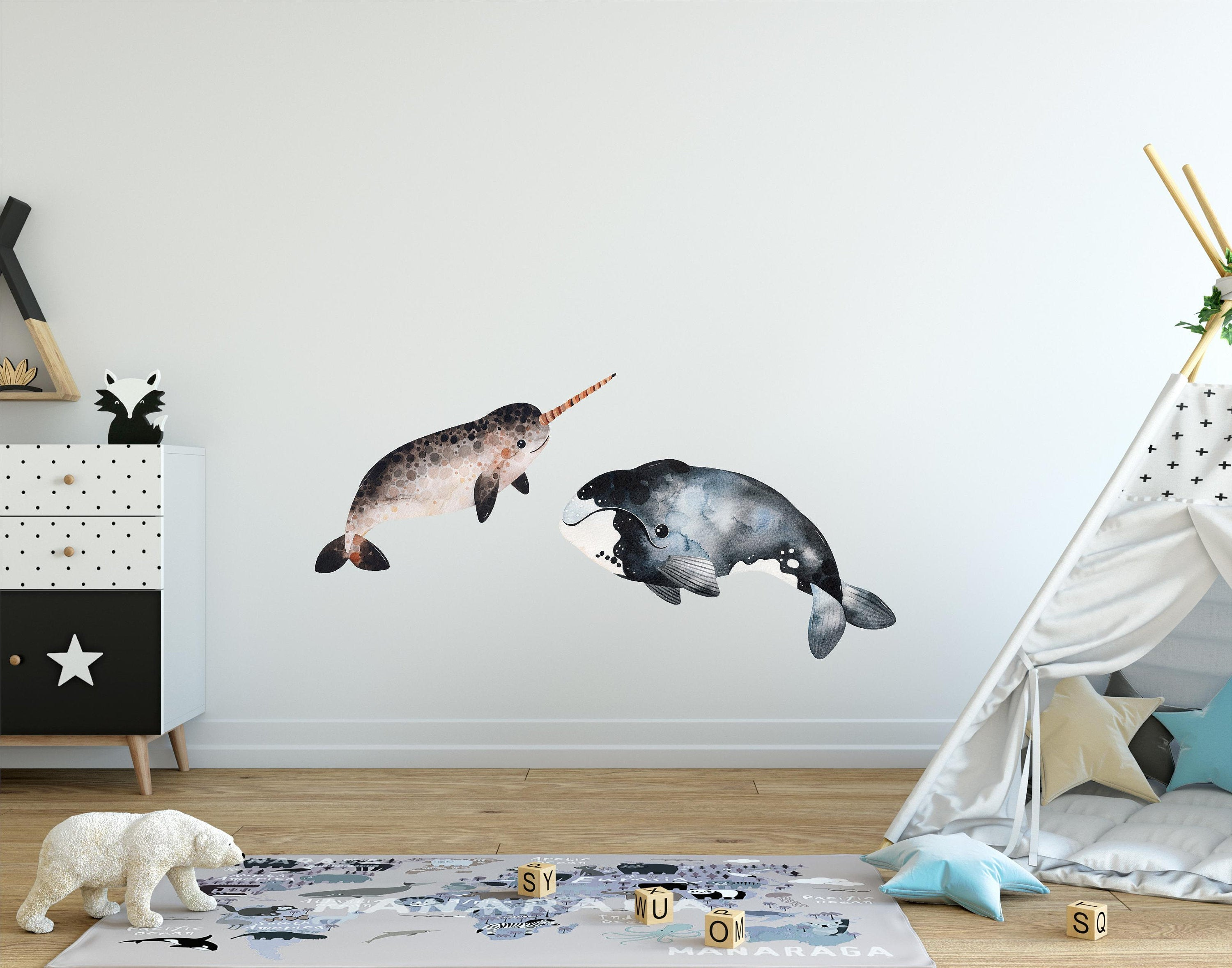 Arctic Animals Wall Decal Set #2 Watercolor Narwhal & Whale Removable Fabric Vinyl Wall Stickers