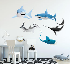 Shark Wall Decal Set of 5 Sharks & Stingray Removable Fabric Vinyl Wall Stickers