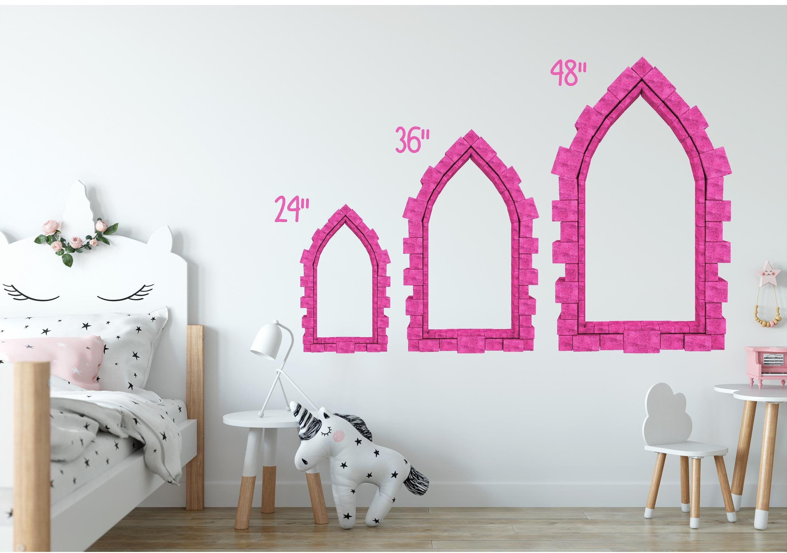 3D Castle Window Yellow Brick Road Castle Wall Decal Fantasy Removable Fabric Vinyl Wall Sticker | DecalBaby