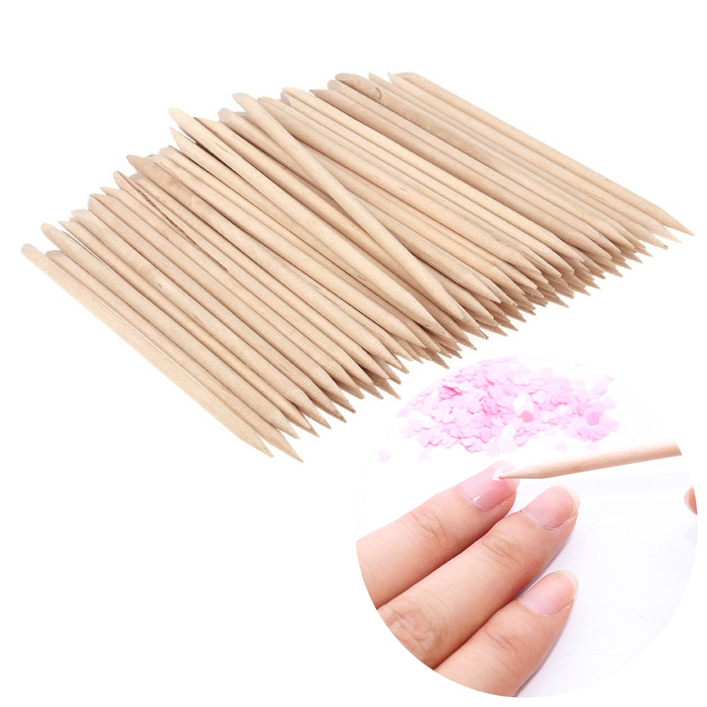 100 PCS Nail Art Wood Stick Cuticle Pusher / Remover Manicure