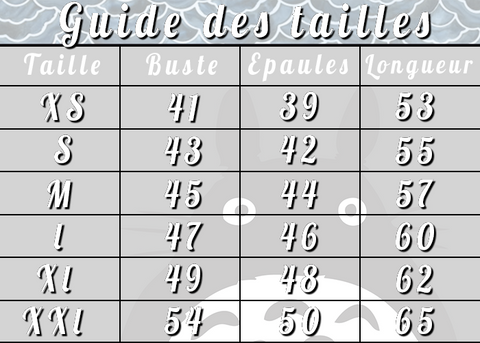 Guide des Tailles Totoro