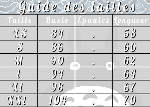 Guide taille sweat totoro
