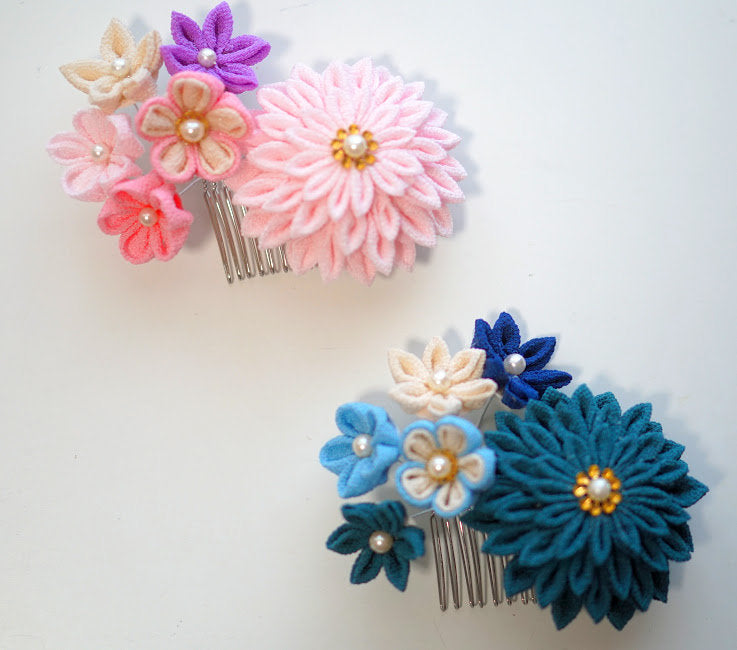 Hair Comb 3PCS for Kanzashi Tsumami zaiku 15 teeth(silver)