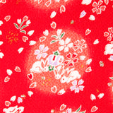 Lucky bunnies in red,Japanese kimono fabric chirimen Gold Metallic Glitters