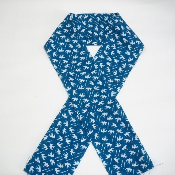 "Stock ONLY Han eri Cotton washable 17x90cm (6"" x 35"").. -Swallow blue,for kimono,Yukata"
