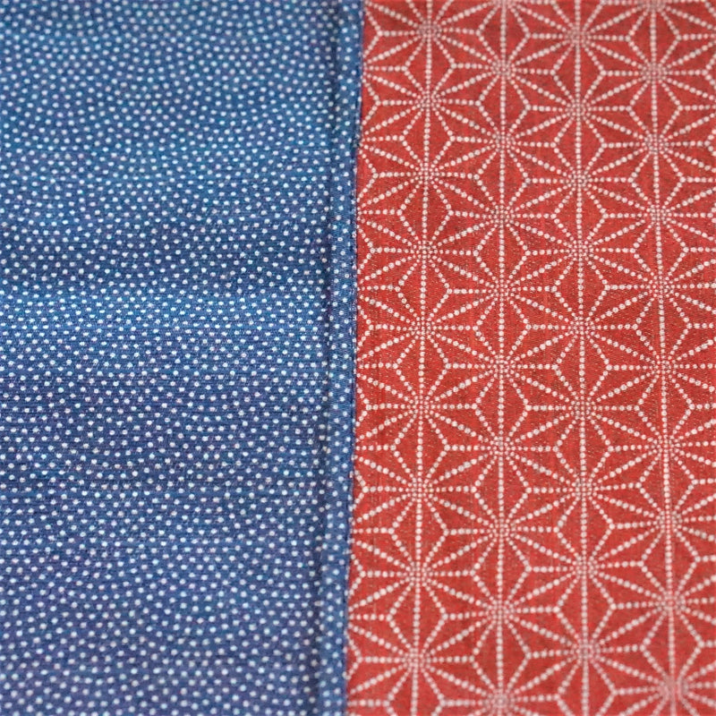"Large size 100cm(39.3"")Reversible two sided Furoshiki Japanese Traditional Cotton Cloth Blue wave X Red Asanoha"