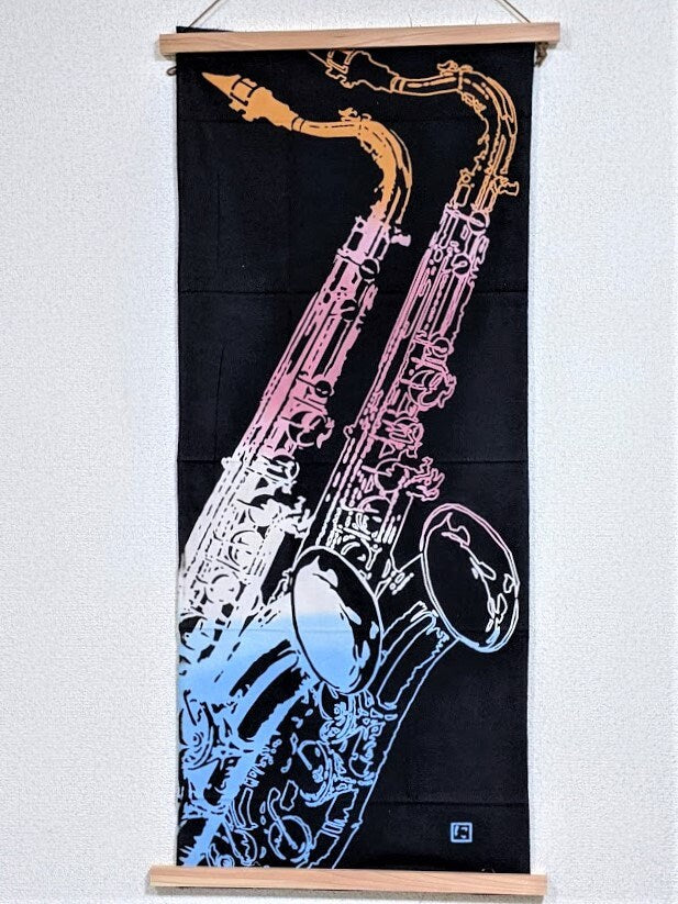 "Tenugui Japanese Traditional Cotton Cloth 37x90cm (14"" x 35"") Hand Dyed-Saxophone-Chusen dyeing,fabric,Nijiyura brand"
