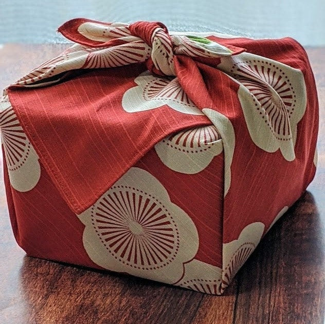 "Furoshiki | Japanese 48cm(18.89"") Isa Monyo Reversible Ume Plum Red/Green/Eco friendly"