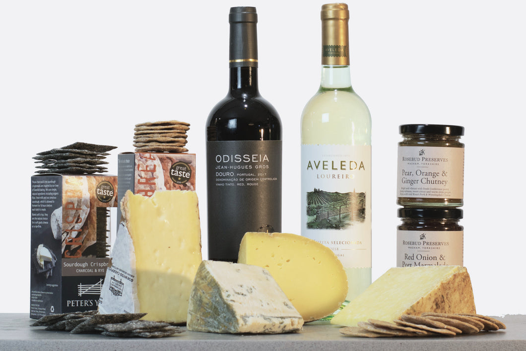 Celtic Cousins Cheese Gift Collection (With Wine), personalised gift hampers, gourmet hampers