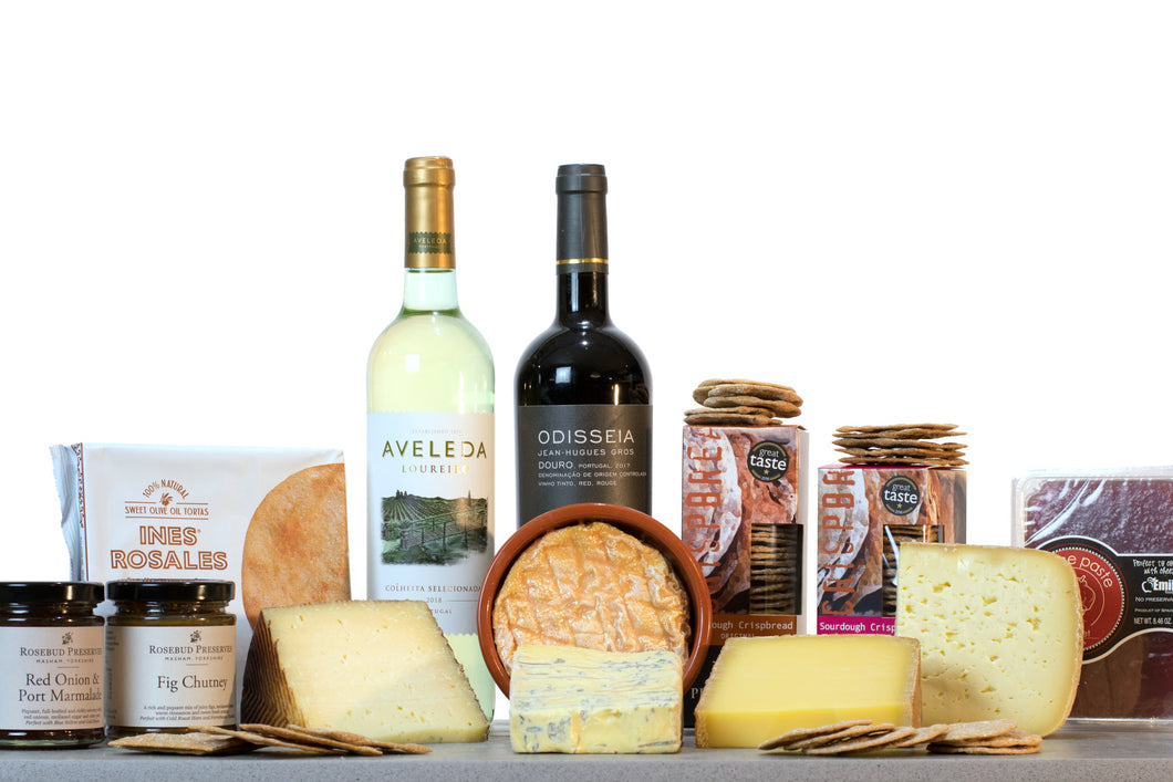 European Cheese Gift Collection (With Wine), Cheese and Wine Hampers, Wine Gift Sets