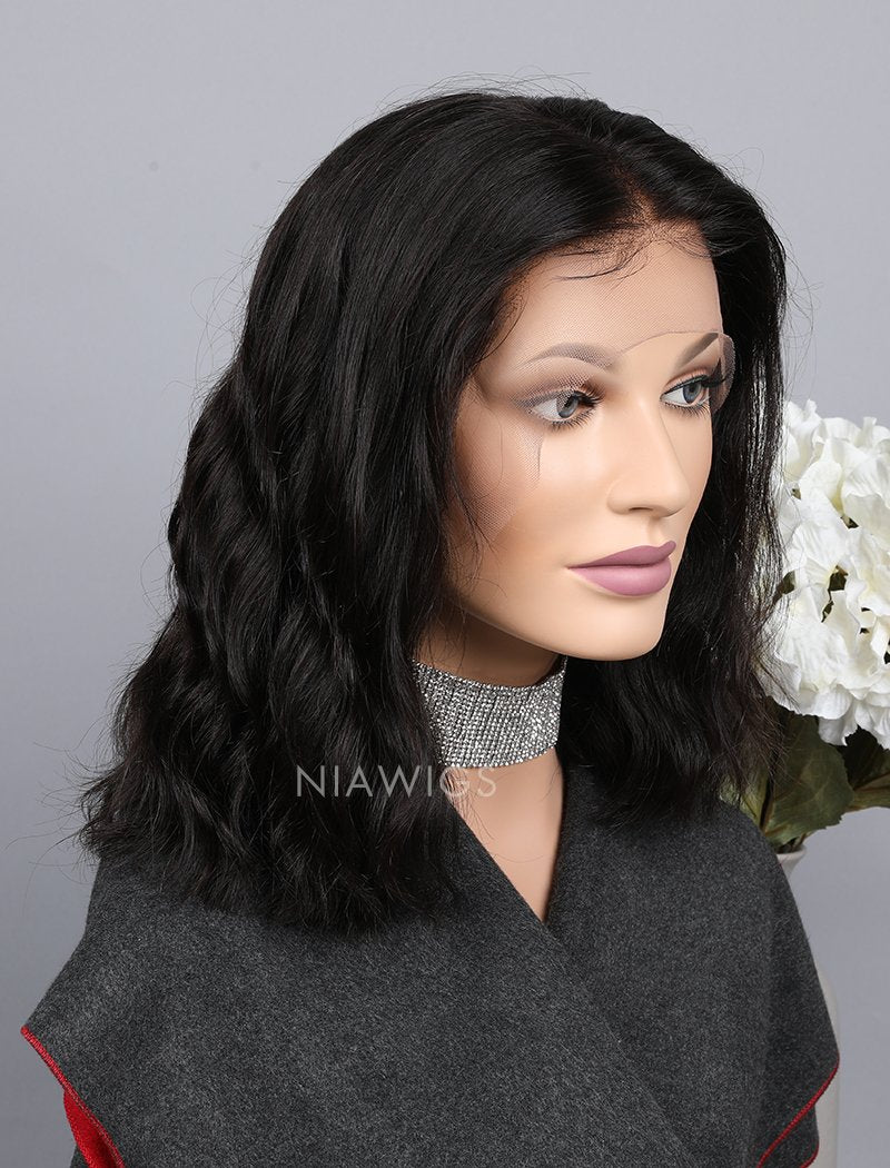 Load image into Gallery viewer, Silk Base Natural Wavy Bob Cut Human Hair Full Stretchable Wigs
