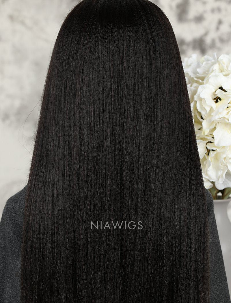 Load image into Gallery viewer, Yaki Straight Human Hair Lace Front Wigs With Natural Hairline