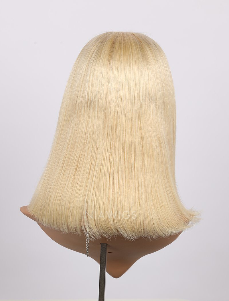 Load image into Gallery viewer, #613 Blonde Human Hair Lace Front Wigs Blunt Cut Silky Straight