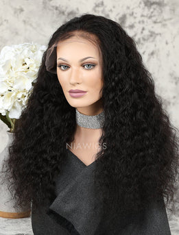 Deep Wave Human Hair Full Lace Wigs With Baby Hair