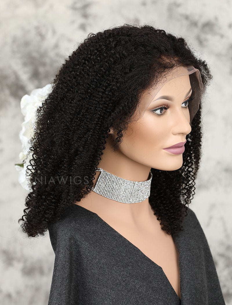 Load image into Gallery viewer, Afro Kinky Curly Human Hair Full Lace Wigs Natural Black Hair Color