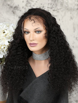 Deep Curly Human Hair Full Lace Wigs Free Parting With Baby Hair