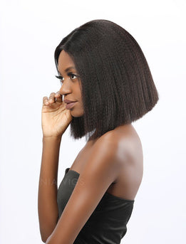 Kiro||Virgin Hair 12 Inches Lace Front Wig Yaki Bob