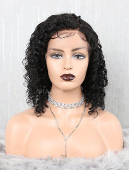 Curly Bob Human Hair Glueless Full Stretchable Wigs With Removeable Bands