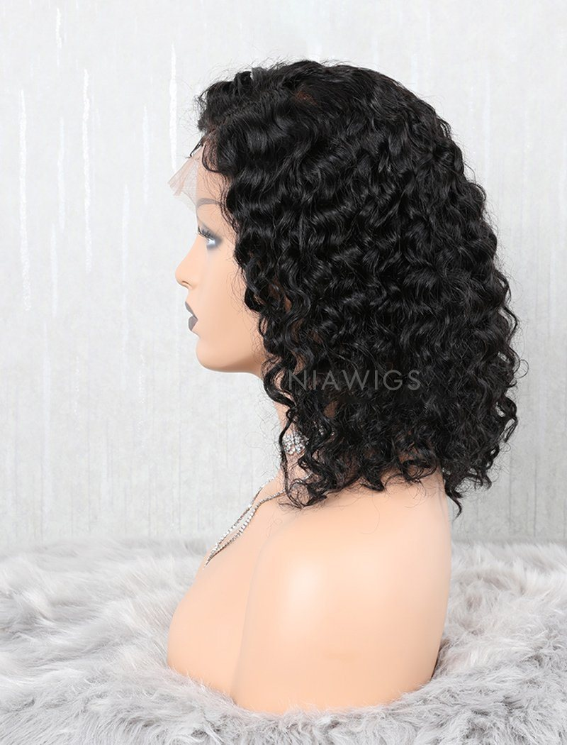 Load image into Gallery viewer, Curly Human Hair Lace Front Wigs Free Parting With Removeable Bands
