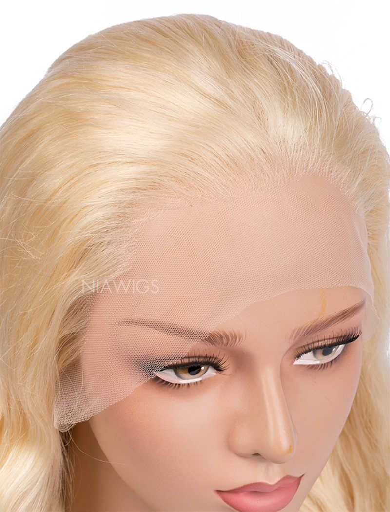 Load image into Gallery viewer, #613 Blonde Natural Wave Human Hair Lace Front Wigs