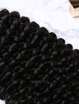 Hair Weft With Lace Closure Natural Color Brazilian Kinky Curly Human Hair