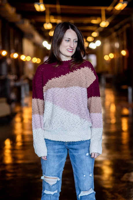 Harper Fuzzy Colorblock Sweater