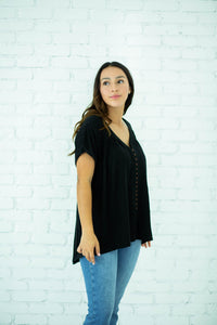 Carson Black Button Down Top