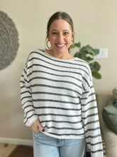 Load image into Gallery viewer, Dena Black and White Striped Sweater
