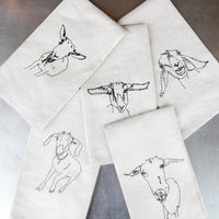 Goat Embroidered Tea Towel