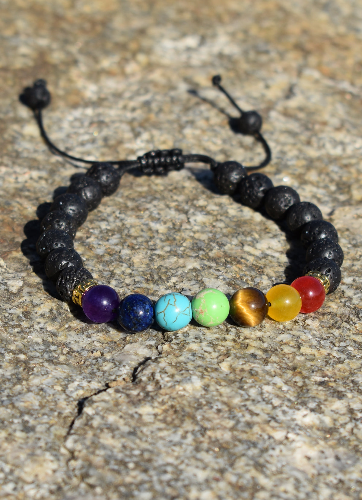 Zen 7 Chakra Healing Stones with Gold Accent