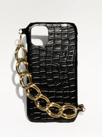 画像をギャラリービューアに読み込む, iphone leather case croco, white, black, fashion, upcycled leathergoods