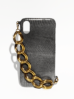 Load image into Gallery viewer, iphone leather case croco, white, black, fashion, upcycled leathergoods