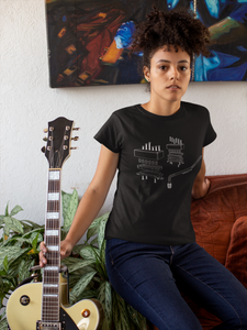 Unisex t-shirt with geometric view of guitar pickups and whammy bar, unique gift for guitarists, music inspired design, made in the US