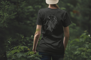 Unisex t-shirt with outline of a mountain climber, made in the US