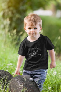 Kids drum kit t-shirt, organic cotton, made in the US