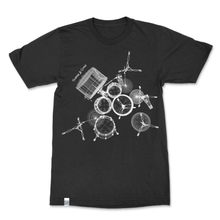 Load image into Gallery viewer, Unisex t-shirt with geometric outlines of a drum set, cool gift for drummers, shirt with music inspired design, made in the US