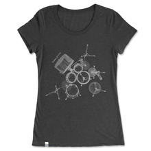 Load image into Gallery viewer, Women's t-shirt with geometric outlines of a drum set, unique gift for drummers, shirt with music inspired design