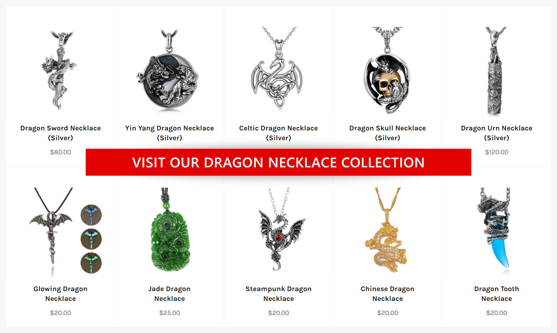 The Dragon Shop's necklaces and pendants
