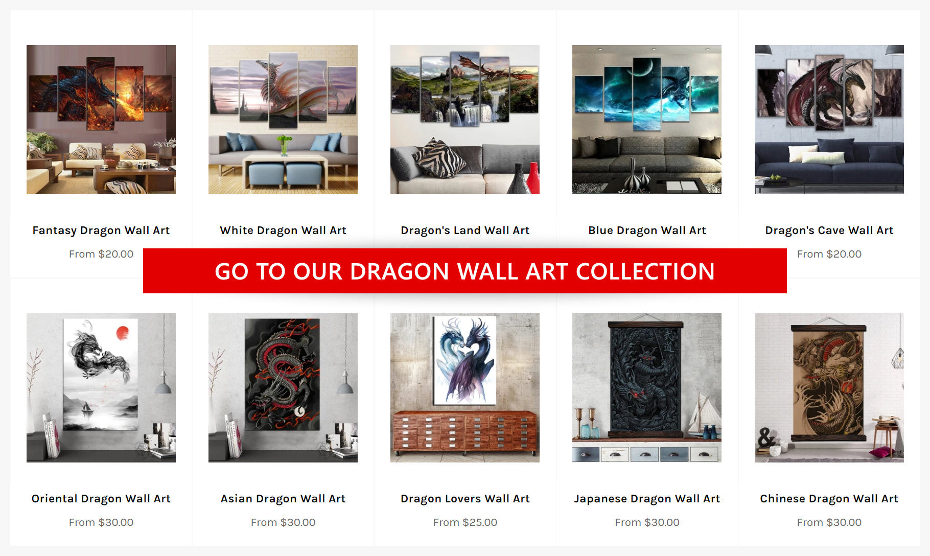 The Dragon Shop's collection of Dragon Wall Art