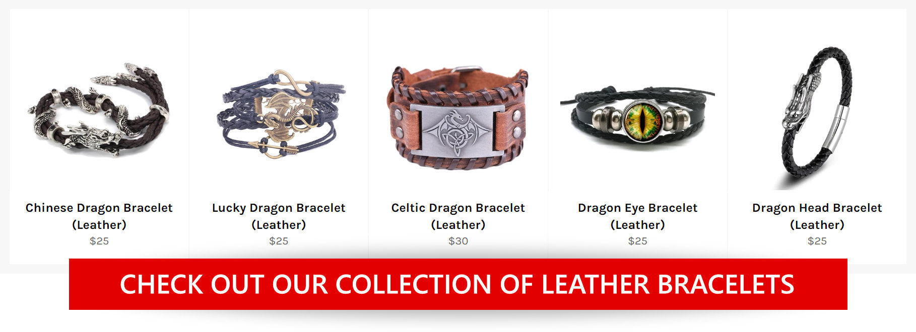 Our collection of Leather Dragon Bracelets