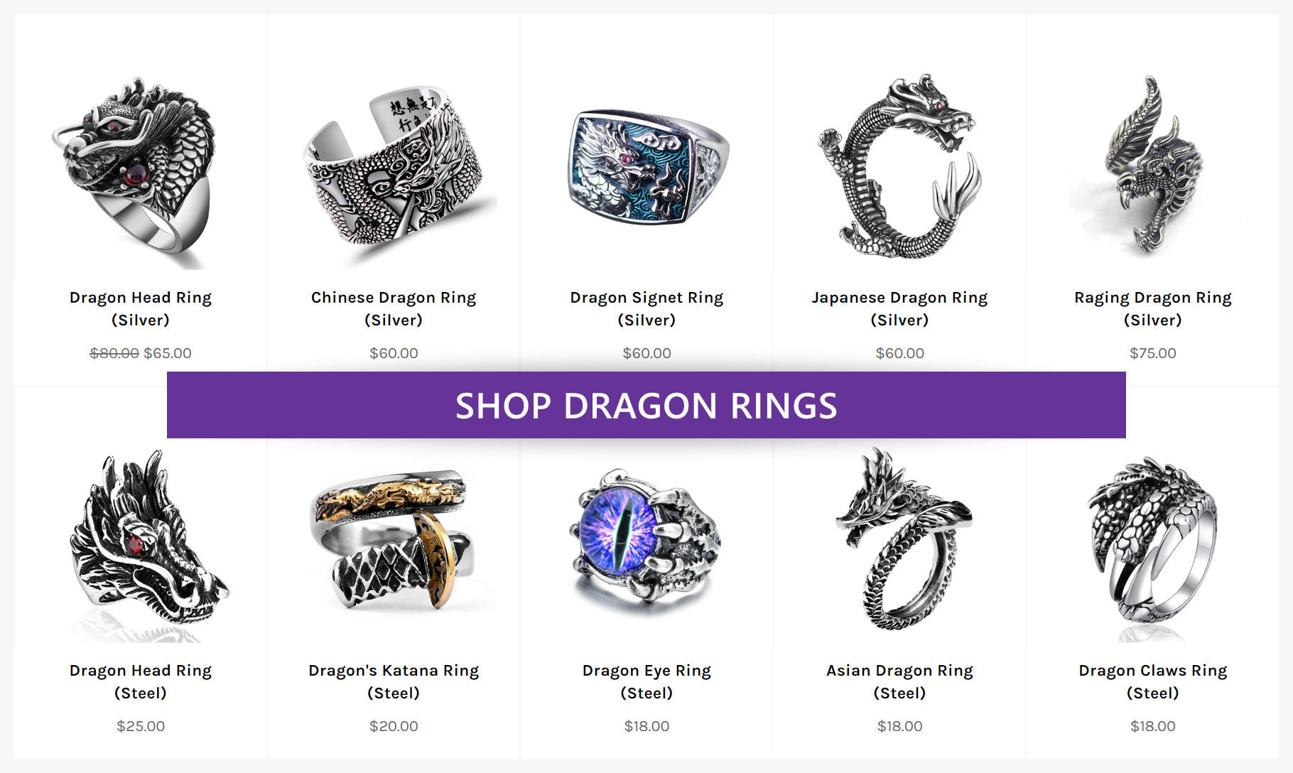 A collection of Dragon Rings