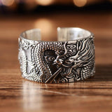 Silver ring with a Chinese dragon