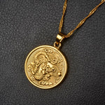 Coin-shaped dragon necklace
