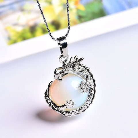 Dragon Gemstone Necklace (Opal)